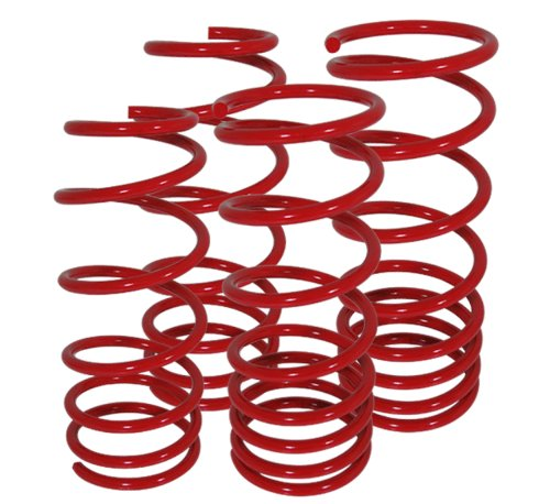Jetta Mk4 Suspension Racing Coil Drop Lower Lowering Sport Spring Kit Red ()
