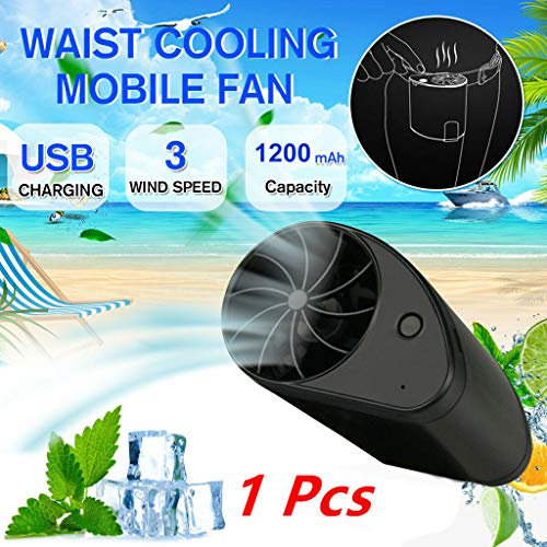 Efaster Portable Waist Cooling Mobile Fan, Lazy Waist Hanging Fan,Mini Portable Waist Fan USB Rechargeable Wearable Portable Cool Air Hand Held Travel Blower Cooler for Sports Traveling (1 - Hanging Fan Sports
