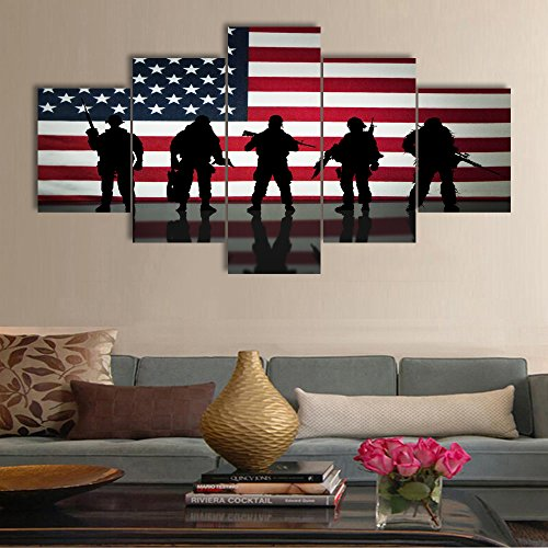 Art Work for Home Walls Honored Nation Symbol Painting on Canvas 5 Panel Military Forces American Flag for Living Room Posters and Prints Modern Artwork Framed Stretched Ready To Hang(60''W x (Symbols Canvas Art)