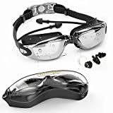 Merssyria Swim Goggles With UV Protection, One-piece Style Earplugs Type Swim Goggles With Waterproof and Anti-fog Lenses,Non Leaking With Free Protection Case for Adult Women and Men