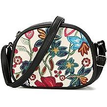 DAVIDJONES Women's Mini Flowers Patent Faux Leather Crossbody Saddle Shoulder Bag Travel Zipper Purse