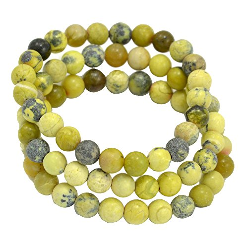 (Paialco 6mm Yellow Turquoise Gemstone Stretch Beaded Bracelet, Pack of 3)