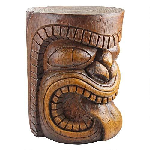 Design Toscano The Grande Tiki God Lono Tongue Side Table Statue, 20 Inch, Polyresin, Woodtone