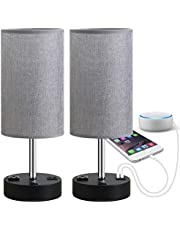 Focondot Table Lamp, Bedside Nightstand Lamps with Dual USB Charging Ports and One AC Outlet, USB Lamp Set of 2 with Gray Cylinder Lamp Shade, Stylish Bedside Lamp for Bedroom Living Room Office (Grey)