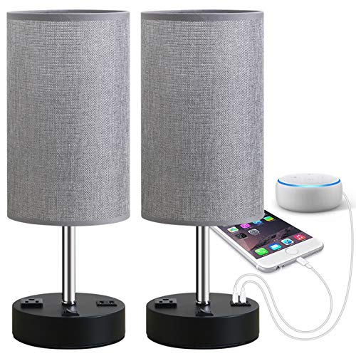 Focondot Table Lamp, Bedside Nightstand Lamps with Dual USB Charging Ports & an AC Outlet, USB Lamp Set of 2 with Gray…