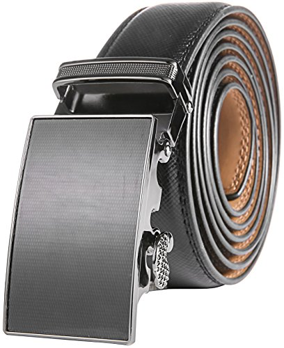 (Marino Men's Genuine Leather Ratchet Dress Belt With Automatic Buckle, Enclosed in an Elegant Gift Box - Black - Adjustable from 28
