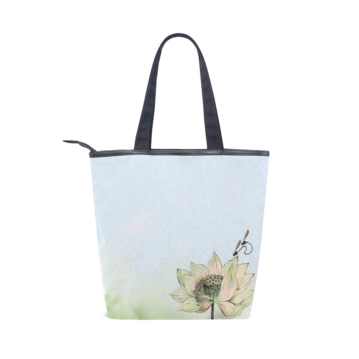 dcd0fc2f1e1a IMOBABY Dragonfly Lotus Canvas Large Shopping Tote Bag Zippered ...