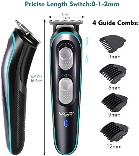 VGR V-055 Professional Cordless Rechargeable Beard Trimmer Clippers for Men with Guide Combs Brush, Black 2021 July high quality home haircuts: using the blade fitting technology to reduce the friction between the movable knife and the fixed knife, effectively reducing noise. 5 limit combs, novices and shaved gospel. length as you want, suitable for a variety of haircuts. stainless steel material: made of detachable stainless steel premium blade with sharp angle design. all-steel acute angle blade is safe, sharp and wear-resistant. the stainless steel not only has high hardness, but also it can be polished automatically without rust. scope of use: 0 cutter head, ultra short pitch, leaving hair length only 0.1mm, can be used for engraving, trimming, pushing. low temperature rise, low heat during work, giving you a gentle and comfortable haircut experience.