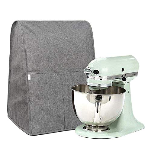 Homai Dust Cover Compatible with 4.5/5/6/7 Quart KitchenAid Mixer, Cloth Dust Cover with Pocket for Extra Accessories (Gray)