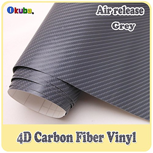 DIYAH 4D Gray Carbon Fiber Vinyl Wrap Sticker with Air Realease Bubble Free Anti-Wrinkle 12