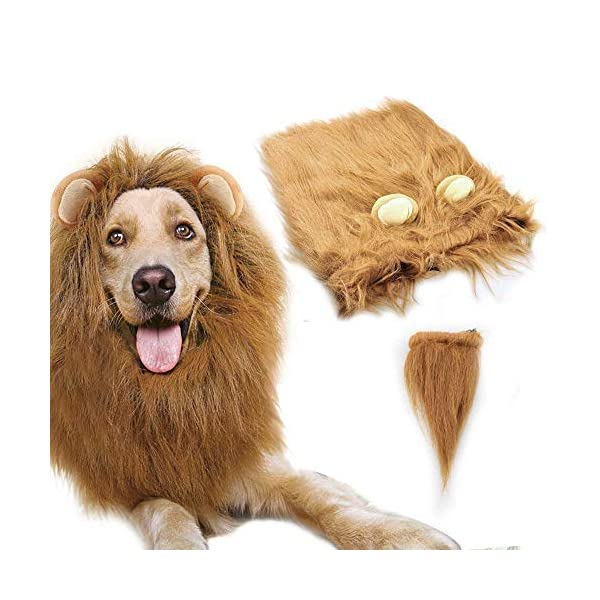 Dog Lion Mane,Gimilife Lion Mane Wig Costumes for Small Medium Large Sized Dog With Ears & Tail,Fancy Lion Hair For Holiday Photo Shoots Party Festival Occasion (L Size,Light Brown)