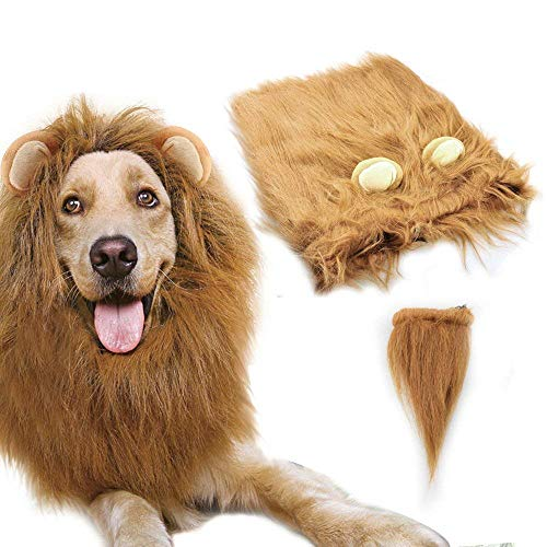 Dog Lion Mane,Gimilife Lion Mane Wig Costumes for Small Medium Large Sized Dog With Ears & Tail,Fancy Lion Hair For Holiday Photo Shoots Party Festival Occasion (L Size,Light Brown)]()