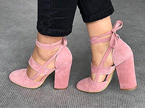 High Hautes Femme Cuir Talon Lacées Unie Eté Daim Couleur Sexy Carrés Chaussures Sandales Minetom Pink Heels ARjqc534SL