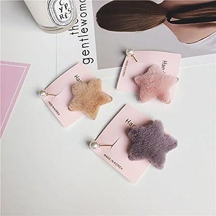 Versión coreana del nuevo invierno moda lindo peluche imitación piel geométrica melocotón corazón amor pentagrama estrella
