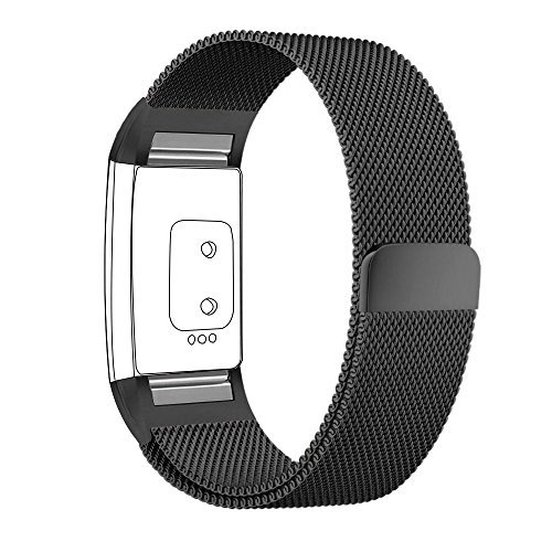 hooroor for Fitbit Charge 2 Bands for Women Men, Milanese Loop Stainless Steel Metal Sport Replacement Bracelet Wristbands Strap with Magnet Lock for Fit bit Charge2 Fitness Tracker (Black, Large)