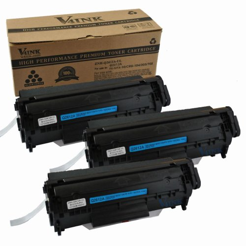 3 Pack V4INK ® New Compatible Canon 104/HP Q2612A(12A)/FX-9/FX-10 Toner Cartridge-Black, Office Central