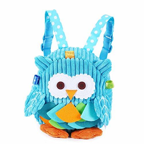 Rejolly Toddler Mini Backpack for Girls Boys Cute 3D Animal Cartoon Children Preschool Owl Backpack Blue Plush Bag for Kids