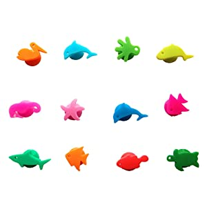 12 Pcs Wine Glass Charms Funny Marine Animal Silicone Wine Cup Markers Reusable Drink Bottle Stickers for Drinking Buddy Cup Identification Cup Identify Identifier Cup Labels Tag Signs