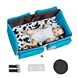 3 in 1 Baby Diaper Bag Changing Station Travel Bassinet Crib Blue