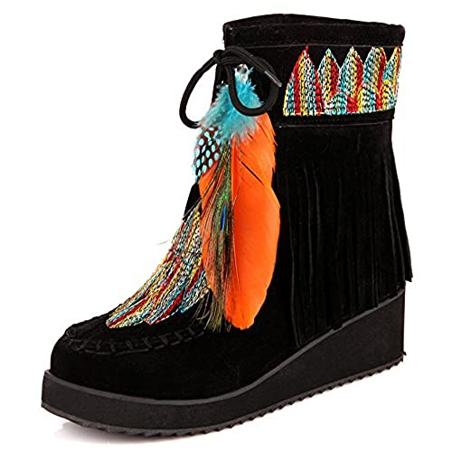 Women's Trendy Round Toe Stitches Feather Fringe Low Wedges Bohemia Ankle Boots