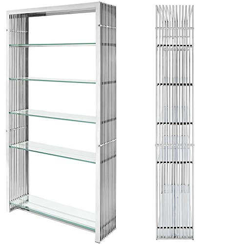 Metallic Bookcase Midcentury Metal Stainless Steel Bookshelf Living Room Display Vertical Shelving Unit Modern Contemporary Wire Etagere Bookcase 5 Tempered Glass Shelves Storage & eBook By NAKSHOP - Metallic Office Bookcase