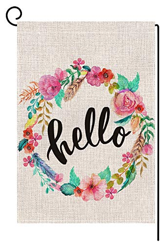 Welcome Large Flag - BLKWHT Hello Floral Wreath Garden Flag Vertical Double Sided 12.5 x 18 Inch Easter Spring Summer Welcome Yard Decor