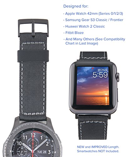 [Upgraded] Truffol 22mm NATO Lite Woven Nylon Band for Apple Watch 42mm, Samsung Gear S3 Frontier & Classic, Huawei Watch 2 Classic - Replacement Watch Strap (Black / Space Gray)