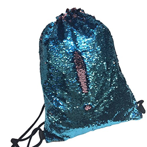 3212 blue Drawstring Shoulder 17 Meolin Mermaid Lake Glittering silver Backpack 99in pink Sequin Sapphire Shoulder Bag 6qnPw4