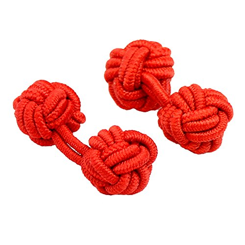 Amytong handmade men's & women's double sides red cloth knot cufflinks, Braided twist French - Cufflinks Mens Braided