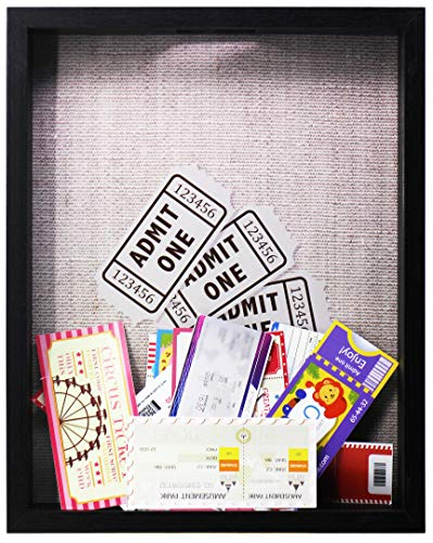 11x14 Black Ticket Shadow Box - Top Loading - Frame for Memorabilia - Raffle Ticket Stub Holder/Collector Decoration - Wall Display/Self-Standing - Linen Lined Back - Swivel Tab Back (11x14, Black)