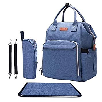 9e8aad1a5de21c Amazon.com : Diaper Bag - Baby Backpack Diaper Bag with Changing Pad and  Cooler Pocket - by Pantheon - Baby Diaper Bag for Mom and Dad (Blue) : Baby