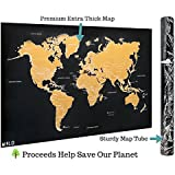 Amazon scratch off world map poster beautifully detailed scratch off map of the world x large world map poster international travel gumiabroncs Gallery