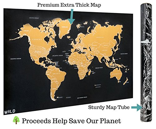 Scratch Off Map of the World, X-Large World Map Poster | International Travel Tracker w/ All U.S. States Outlined | Perfect Gift for Travelers! | by Wild Products