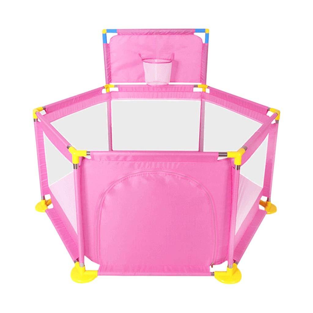HUYP 赤ちゃんのベビーサークルゲームフェンス子供の家屋内遊び場折りたたみ子供の幼児フェンスクロールマット (色 : ピンク, サイズ さいず : Fence) Fence ピンク B07PFTYFV7