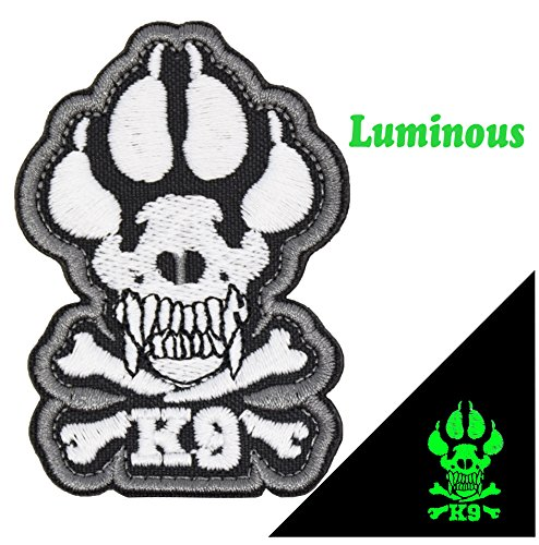Dog Patch Embroidered Hook&Loop Fastener Backing for Service Animal Vest (Luminous White)