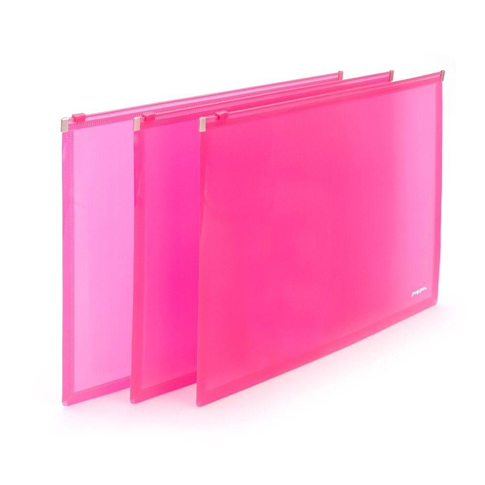 Poppin® Neon Pink Zip Folios