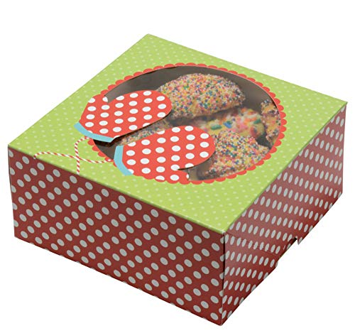 Christmas Cookie Gift Boxes with Window, 6 Inch, Red and Green for Gift Giving On Holiday, Wedding, Anniversary and Birthday Favors (Set of 12)