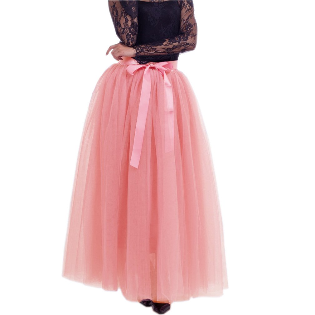 Watermelon Red1 Lisong Women Floor Length Bowknot 5Layered Tulle Party Evening Tutu Skirt
