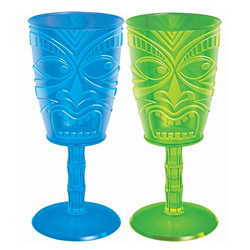 (Amscan Tiki Face Party Wine Glass, 14 oz.)