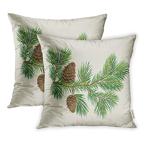 Emvency Pack of 2 Throw Pillow Covers Print Polyester Zippered Evergreen Branch of Christmas Tree Pine Cones Fir Pillowcase 18x18 Square Decor for Home Bed Couch Sofa