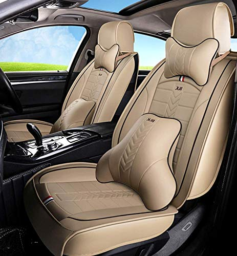 Tcbz Easy To Clean PU Leather Car Seat Cushions 5 Seats Full Set - Anti-Slip Suede Backing Universal Fit Car Seat Covers for Both Fabric And Leather Car Seats,Black,Beige: Sports & Outdoors
