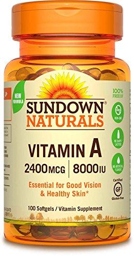 Sundown Naturals A 2400 Mcg 8000 Iu Softgels, 100 Count