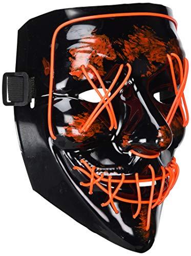 LED Costume Mask,Halloween Scary Mask LED Light Up Purge Mask for Festival Cosplay