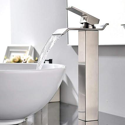 Phenomenal Vapsint Modern Commercial Tall Single Handle Waterfall Brushed Nickel Vessel Sink Bathroom Faucet Bathroom Sink Faucets Interior Design Ideas Helimdqseriescom