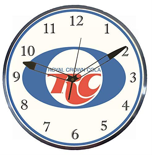 """Mancave Neon - 15"""" RC Cola LED Lighted Pam Advertising Clock, Metal Shell, Real Glass"""