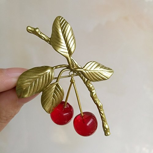 - TKHNE Morello cherry red cherry leaves brooch pin badge pin brooch pin badge coat jacket women girls accessories designer jewelry US