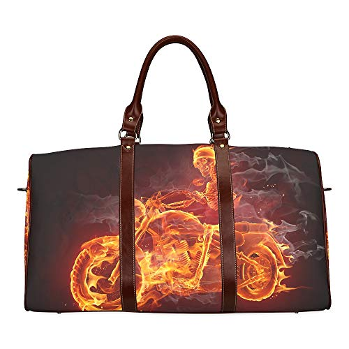 Large Leather Travel Duffel Bag For Men Women Fire Skeleton Riding Motorcycle Printing Waterproof Overnight Weekend Bag Luggage Tote Duffel Bags For Travel Gym Sports School Beach -