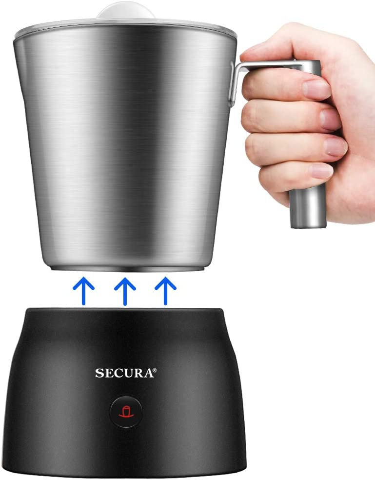 Secura 4 in 1 Electric Automatic Milk Frother and Hot Chocolate Maker Machine 17oz/500ml Foam Stainless Steel Dishwasher Safe Cordless Detachable Milk Jug: Kitchen & Dining