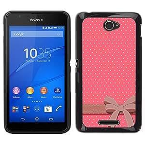 Pulsar Snap-on Series Teléfono Carcasa Funda Case Caso para Sony Xperia E4 , Polka Dot Bow Tie Rose Blanc Brown