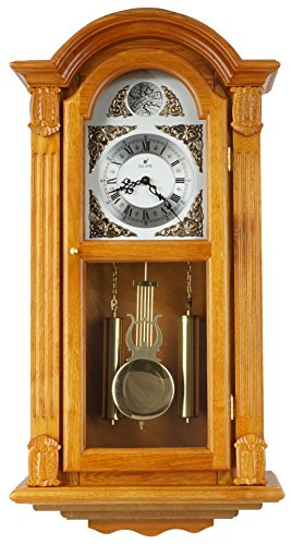 - JUSTIME 29-inch Tall Deluxe Elaborate OAK Solid Wood Pendulum Wall Clock Rich Dual 44 Chiming Home Decor - P00029